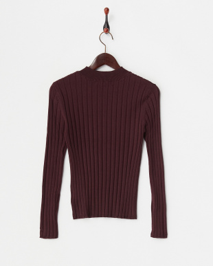 BURGUNDY リブクルーネックセーター見る