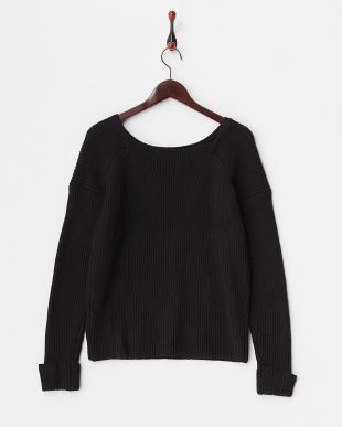 BLACK  アゼボートネックルーズセーター見る