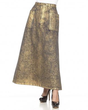 ゴールド ロング丈スカート見る