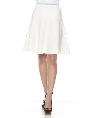 ホワイト セットアップフレアスカート見る