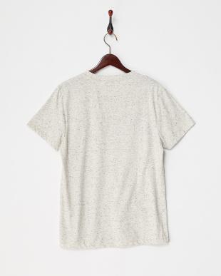 ホワイト 杢調プリントTシャツ見る