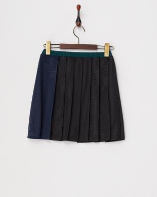 ネイビー×グリーン 異素材切替カットワークギャザースカート見る