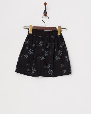 ブラック  スノークリスタル刺繍スカート見る