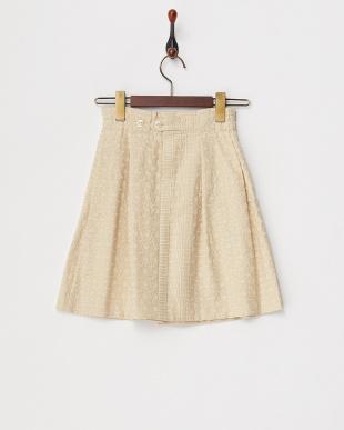 アイボリー  2カラー刺繍スカート見る
