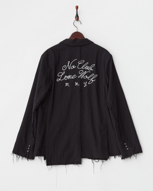 ブラック  バック刺繍 カットオフジャケット見る