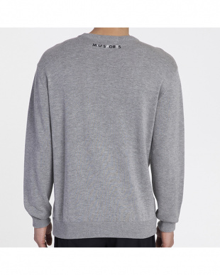 グレー  ミュージック柄セーター|MEN見る