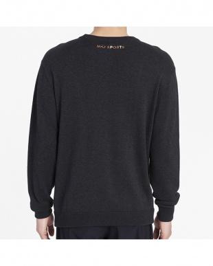 ブラック  ミュージック柄セーター|MEN見る