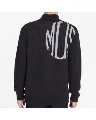ブラック  ハーフジップセーター|MEN見る