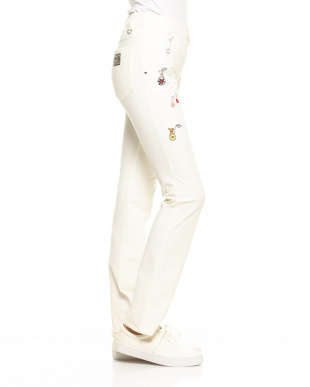 ホワイト  ストレッチ裏起毛ロングパンツ|WOMEN見る
