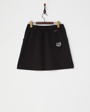 ブラック  ストレッチポンチ台形スカート|WOMEN見る