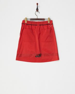 レッド タフタストレッチスカート|WOMEN見る