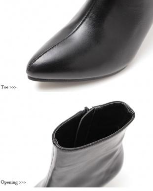 PU/ブラック シンプルヒールショートブーツ見る