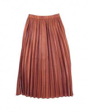 ブラウン  フィラメントサテンミディアムプリーツスカート見る