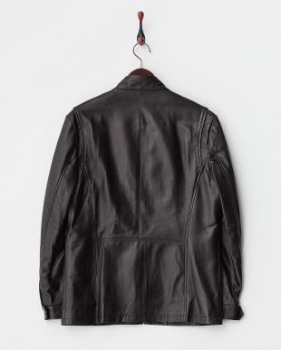ブラック  ポケット付きラムレザージャケット見る