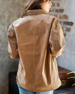 キャメル ライトスエード シャツジャケット|WOMEN見る