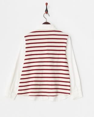 オフホワイト×レッド 肩掛け風 デザインコンビシャツ見る