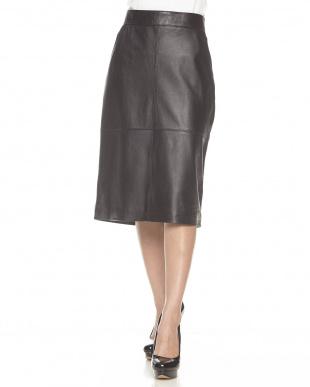 ブラック 異素材切り替え レザータイトスカート見る