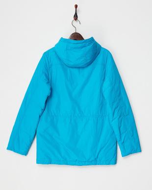 ブルー ウエストストリング 中綿ジャケット見る