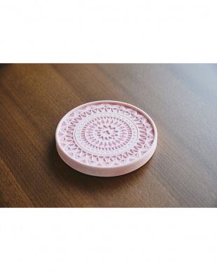 ピンク  珪藻土コースター+ デザイン 2個セット見る