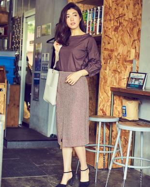 ヘリンボーン/ブラック フロントスリットパターンタイトスカート見る