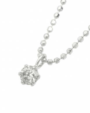 Pt999 天然ダイヤモンド 0.1ct 6本爪ネックレス・チェーンSV見る