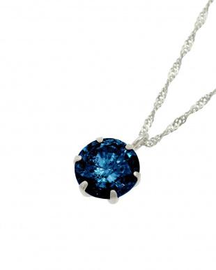 Pt 天然ダイヤモンド 0.5ct ダークブルー 6本爪 プラチナネックレス見る