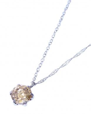 Pt 天然ダイヤモンド 0.7ct シャンパンカラー 6本爪ネックレス見る