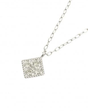 Pt 天然ダイヤモンド 5石 プラチナ ネックレス・菱形見る