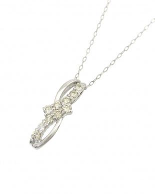 Pt 天然ダイヤモンド 計0.3ct プラチナ デザインネックレス見る
