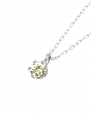Pt 天然ダイヤモンド 0.1ct SIクラス プラチナ6本爪ネックレス・あずきチェーン見る