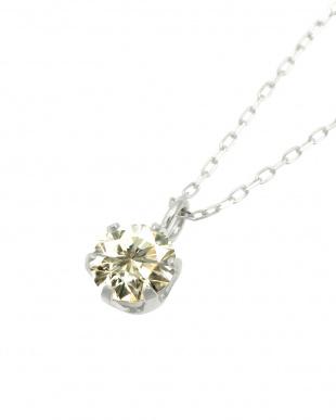 Pt 天然ダイヤモンド 0.3ct SIクラス プラチナ6本爪ネックレス・ あずきチェーン見る