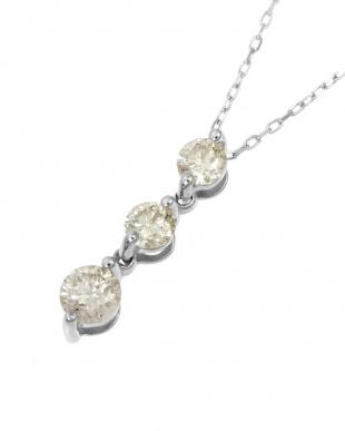 Pt 天然ダイヤモンド 計0.3ct スリーストーン ネックレス見る
