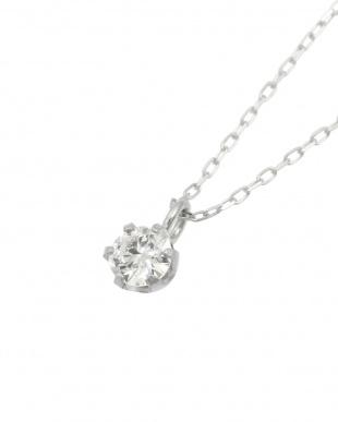 Pt 天然ダイヤモンド 0.1ct VSクラス 6本爪ネックレス・あずきチェーン見る