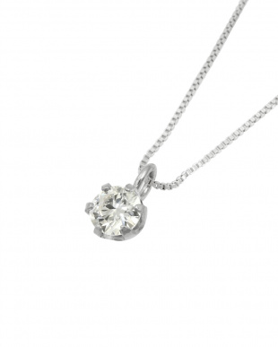 Pt 天然ダイヤモンド 0.1ct VSクラス 6本爪ネックレス・ベネチアンチェーン見る