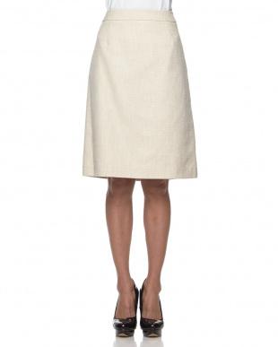 ベージュ  ラメミックスツイード スカート見る