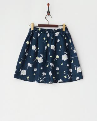ネイビー フラワータックフレアスカート見る