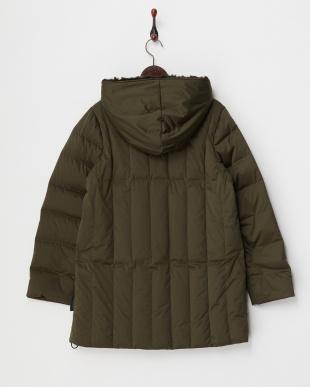 グリーンカーキ  Hood Fake Fur Down Coat見る
