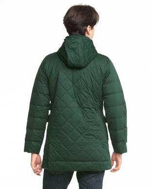 グリーン  Men's Quilted Hood Down Coat見る