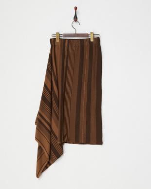 ブラウン  アシメニットスカート見る