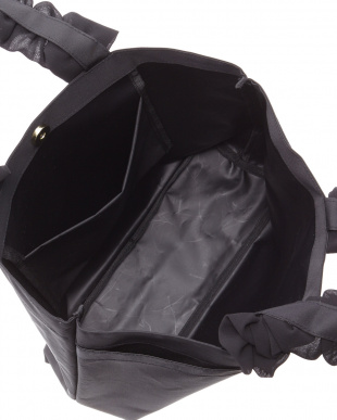 ブラック シフォンハンドルトートバッグ見る