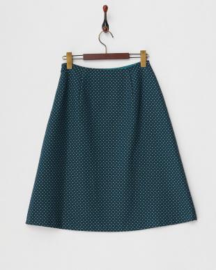 ブルーグリーン  ドット柄スカート見る