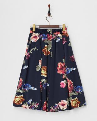 ネイビー グログランフラワースカート見る