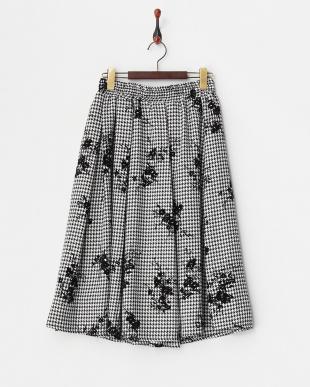 チドリ フロッキーフラワープリントスカート見る