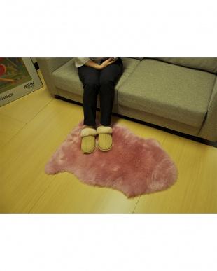ピンク  ムートン長毛ラグ 1匹 55×80cm見る