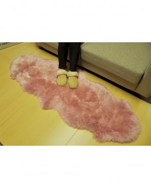 ピンク  ムートン長毛ラグ 2匹 55×160cm見る