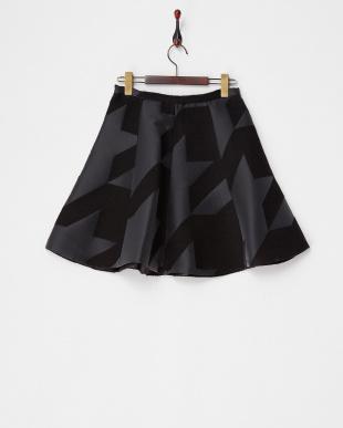 ブラック CANCUN 幾何学柄スカート見る