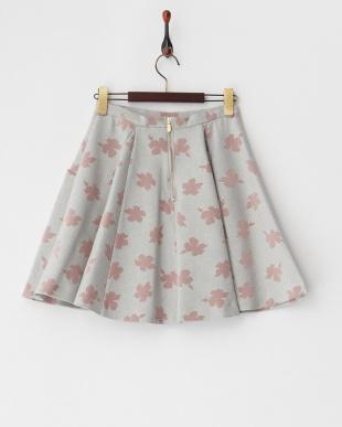 グレー フロッキーチェックフレアスカート見る