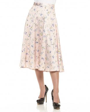 ピンク 小花柄クレープサテンスカート見る