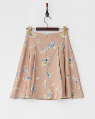 キャメル系 小花柄スエードフレアスカート見る