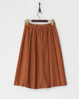 ブラウン  無地ギャザーミディ丈スカート見る